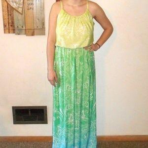 Studio Y Green Ombre Paisley Maxi Dress